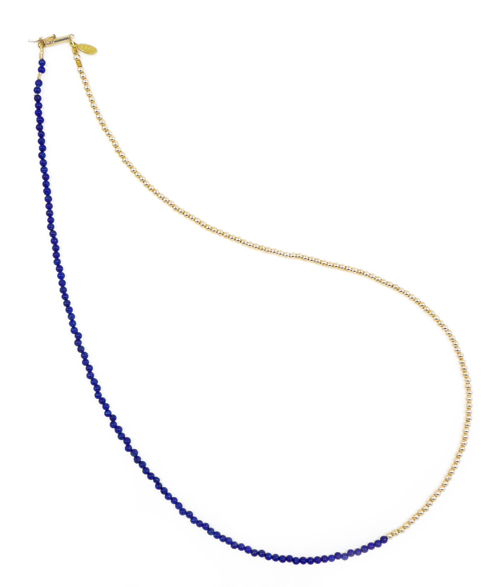Delicate Lapis Lazuli and Gold Bead Necklace Jewelry by Nektar De Stagni May also be worn as bracelet