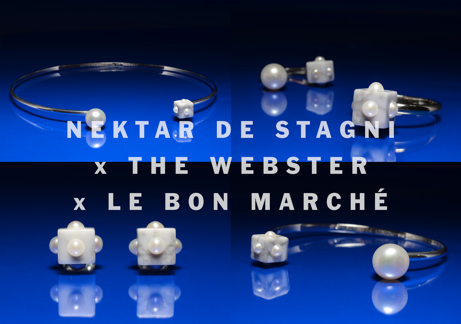 The Webster, Le Bon Marche, Nektar De Stagni exclusive jewelry collaboration featuring Pearls Marble and Sterling Silver