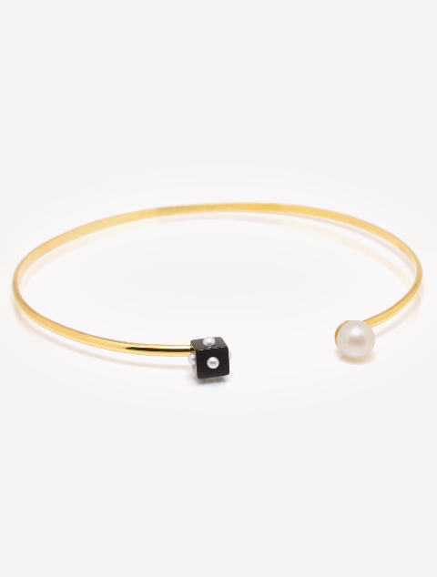 Onyx and Mini Pearl Choker Necklace
