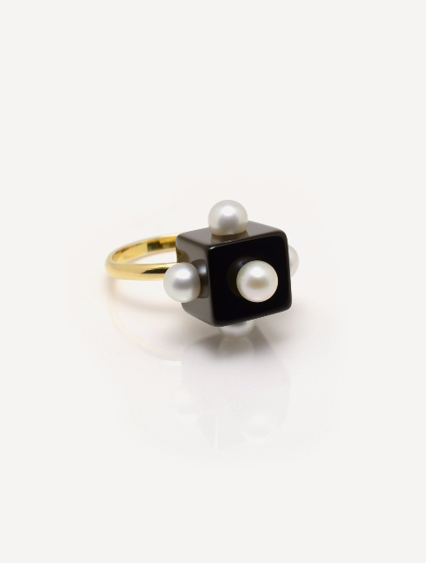 Onyx and Mini Pearl Cocktail Ring