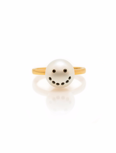 Smiley Pearl Ring
